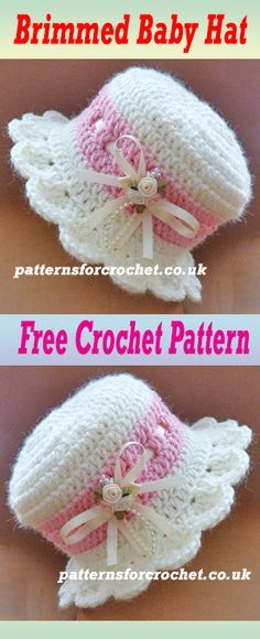 Free baby crochet pattern for brimmed hat. #crochet