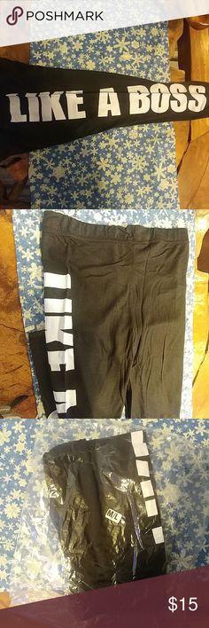 """Women's leggings Black new leggings, """"LIKE A BOSS"""". Size M/L Pants Leggings"""