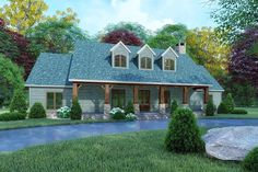 One-Level Mountain House Plan with Open-Concept Living Space - Mountain House Plans, Ranch House Plans, Craftsman House Plans, Best House Plans, Bedroom House Plans, Small House Plans, Open Concept House Plans, Craftsman Homes, Mountain Homes