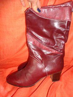 Vintage Stiefel - Stiefel*Vintage*dunkelrot*Leder*weinrot* - ein Designerstück von SweetSweetVintage bei DaWanda