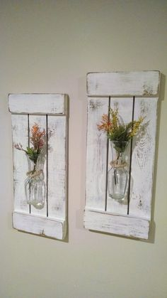 Rustic Sconces Shutters with Vase Rustic Shutters Rustic Wall Decor Flower Holders Shabby Chic Sconces Rustic Home Decor Vases - Shabby Home, Shabby Chic Homes, Shabby Chic Decor, Rustic Decor, Farmhouse Decor, Large Rustic Wall Decor, Rustic Kitchen Wall Decor, Red Farmhouse, Rustic Crafts
