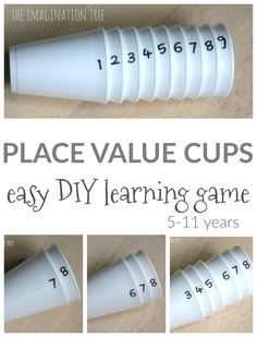 DIY Place Value Cups! A fun math game that is a fun way to learn all about place values! A great math activity for math centers with elementary aged children! Teaching Place Values, Tools For Teaching, Teaching Aids, Primary Teaching, Primary Maths, Teaching Biology, Math Games For Kids, Math Activities, Maths Games Ks1