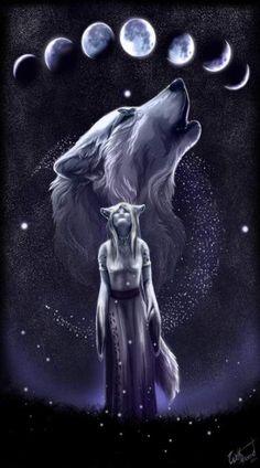 She looked into the sky and her heart fluttered seeing the wolf she turned into every night or rather what she transformed out of every morning. God, I would love to be a wolf! Anime Wolf, Artwork Lobo, Wolf Artwork, Wolf Love, Fantasy Wolf, Wolf Spirit Animal, Wolf Wallpaper, Mythical Creatures Art, Wolf Pictures