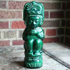 "Vintage KAHLUA Liquor Decanter Green Aztec Mayan Ceramic Collectable MCM 11 1/2"""