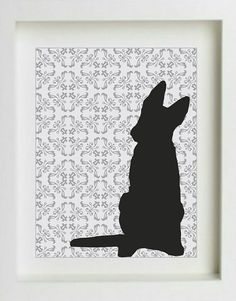 German Shepherd Art Print with Grey Damask by DIGIArtPrints, $15.00