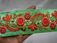 Wholesale Green Embroidery Lace Floral Decorative Trim By 9 Yard Indian Laces Sari Border Craft Ribbon Sewing Trim Costume Fashion trim You Can Purchase From What's App no. is We also take wholesale enquires. Sewing Trim, Ribbon Sewing, Dupioni Silk Fabric, Diy Belts, Gold Earrings Designs, Indian Fabric, Decorative Trim, Lace Border, Lace Patterns