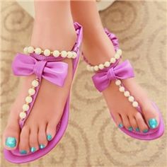 Korean Sweet Flat Sandals with Bowknot&beads