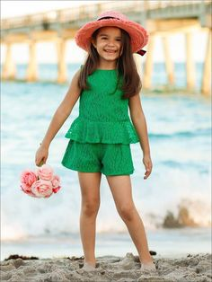 For a look that is casual yet occasion-ready, look no further than this picture-perfect, comfortable set she can frolic in! Imported We recommend to order 1 size up for maximum wear Girls Maxi Dresses, Striped Maxi Dresses, Flower Girl Dresses, Mermaid Swimsuit, Lace Peplum, Green, Short Set, Summer, Fashion Trends