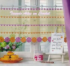 Colorful and simple crochet curtain, filet work ♥LCC-MRS♥ with diagram