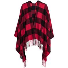 H&M Patterned poncho ($31) ❤ liked on Polyvore featuring outerwear, h&m, purple poncho and h&m poncho