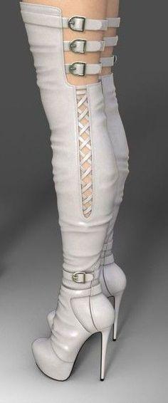 Ladies Khaki Knee High Womens  Boots Stiletto  Heel Buckles  Chains Sizes 345678