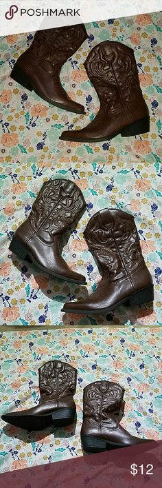 Fashion Cowboy Boots Brown fashion cowboy boots with pointed toes. Brand new without tags. Size 7.   Tagged Charlotte Russe for exposure. Charlotte Russe Shoes Heeled Boots