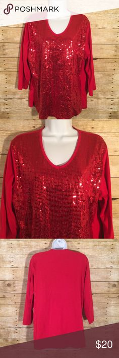 """Quaker Factory Red Sequin V-Neck Knit Top Great top for Valentine's Day. Good condition no stains or flaws. CHEST 22.75"""" Length 26.75"""" Quacker Factory Tops"""
