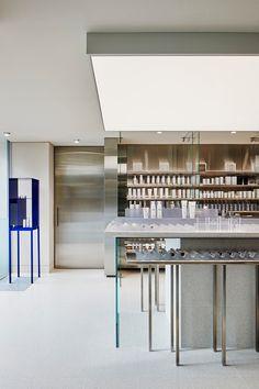 Australian Interior Design, Interior Design Awards, Retail Interior, Gray Interior, Hecker Guthrie, Stainless Steel Panels, Terrazzo Flooring, Workplace Design, Retail Space