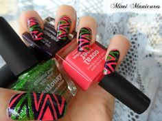 piCture pOlish Blog Fest mani art by Mimi Manicures!  Features Coral Reef, Jealousy & Aphrodisiac   www.picturepolish.com.au