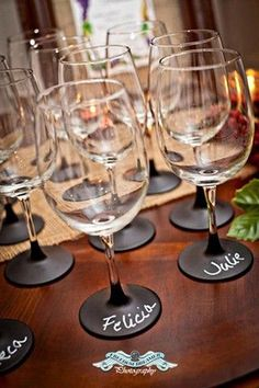 Wine glasses with stems dipped in chalkboard paint