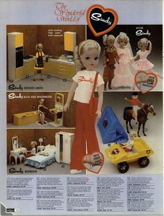 1977 - 1978 Autumn / Winter Grattan mail order catalog page - Active Sindy Doll with FREE Bracelet for you and Fashions (Outfits), Furniture (Kitchen, Bath and Bedroom), Camping Set: Dune Buggy and Tent, and Horse 1970s Childhood, My Childhood Memories, Childhood Toys, Great Memories, 1970s Dolls, Vintage Toys, Retro Toys, Vintage Barbie, Sindy Doll