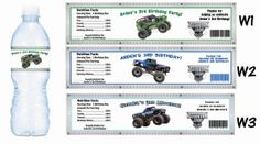 Monster Trucks Water Bottle Labels - PRINTED FOR YOU - Birthday Party Supplies Favors on Etsy, $4.00