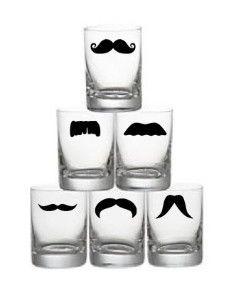 Mustache Shot Glasses - Set of 6 - You pick Staches