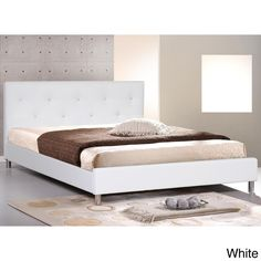Barbara White Modern Full-size Bed with Crystal Button Tufting $282
