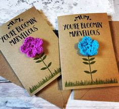 Mothers Day Card/Card for Mum/Blooming Lovely Card/Crochet Flower/Crochet Card/card for Nanny/Flower Card/Mother's Day/Grandmother Card