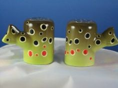 Brown Trout Hand-Painted Abstract Stoneware Salt and Pepper Shakers - By North Creek Cabin