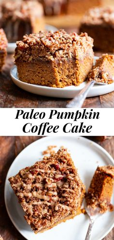 Paleo Coffee Cake, Pumpkin Coffee Cakes, Pumpkin Dessert, Paleo Pumpkin Recipes, Paleo Pumpkin Bread, Paleo Cake Recipes, Thanksgiving Recipes, Holiday Recipes, Paleo Sweets