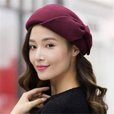 f52cc1aacdf17 Bow wool beret hat for women fashion winter occasion hats