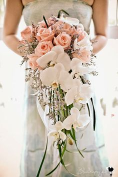 cascading wedding orchids bouquets