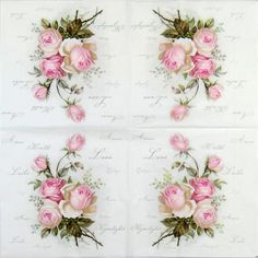 4 Single Table Party Paper Napkins for Decoupage Decopatch Vintage Wild Rose Mix | eBay