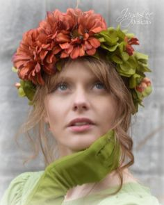 Autumn Flower Crown Wreath Tiara Fall Green by GreenTrunkDesigns