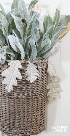 Easy DIY Fall Basket Decor Idea - see the tutorial on how to make it! Add it to a door or decorate an empty corner in your home for autumn. www.settingforfour.com