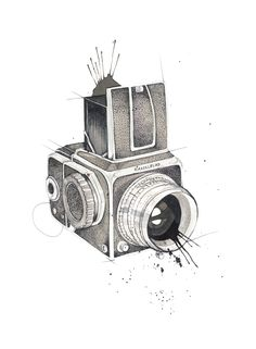 """Hasselblad"" (Vintage camera) Copyright: Emmeselle.no Illustration by Mona Stenseth Larsen"