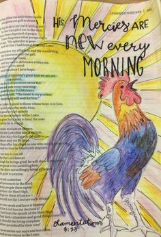 Lamentations 3:23 His mercies are new every morning.  Bible journaling by Julie Williams