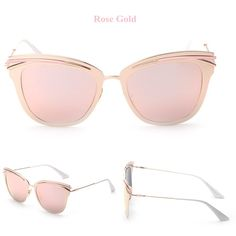 Rose Gold Retro Alloy Cat Eye Sunglasses