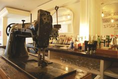 beer taps from repurposed sewing machine