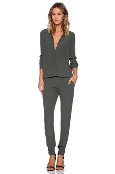 MONROW Crepe Long Sleeve Jumpsuit in Camo