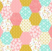 hexagon quilt // cheater quilt wholecloth cute retro flowers florals cheater quilt coral pink gold mint arrows sweet girls quilt by andrea_lauren