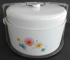 Retro 50s Vintage White Metal Cake Pie Carrier with Cover Lid | eBay