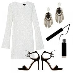 Show Me The Sequins Bell-Sleeve Sequin Mini Dress, Rachel Zoe $395 Allegra Earrings, DANNIJO $320 Parad'Eyes Fluid Eye Liner, Givenchy $30 Darcy Double-Strap Sandals, Gianvito Rossi $870