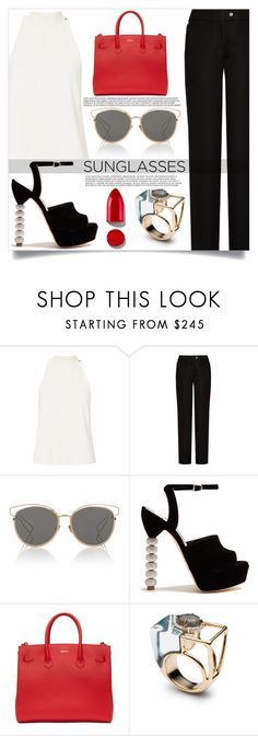 """Retro Sunglasses"" by mistressofdarkness ❤ liked on Polyvore featuring A.L.C., Acne Studios, Christian Dior, Sophia Webster, Off-White and Rodin"