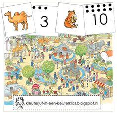 Zoek en tel de dieren uit de dierentuin (met tekeningen van Dagmar Stam) Preschool Zoo Theme, Subitizing, Eric Carle, Jungle Theme, School Themes, Bible Crafts, Primary School, Safari, Comics