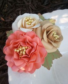 Handmade Paper Flower Cluster - #weddings #party #corsages #paper #flowers #handmade #cream #salmon #roses #boutineer