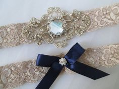 Champagne Lace Wedding Garter Set Bridal by GibsonGirlGarters