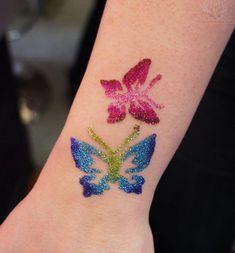 Color Butterflies Glitter Tattoo