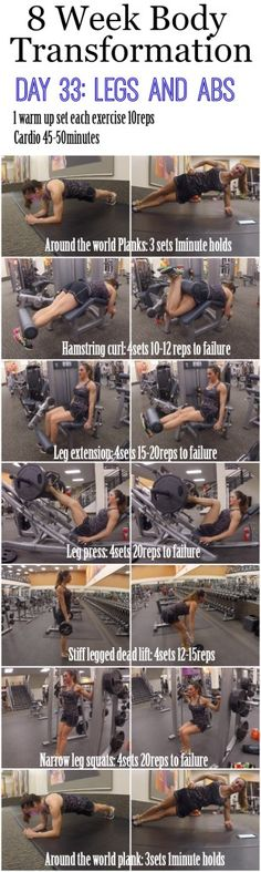 8 Week Body Transformation: Day 33 LEGS and ABS