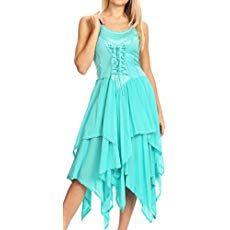 0be3d9ca99 Sakkas 9031 Lady Mary Jacquard Bodice Handkerchief Hem Dress - Aqua - One  Size