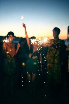 Tonight it's fireworks and sparklers on the beach.