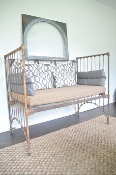 Repurpose A Vintage Iron Crib Into Cute Comfy Bench For Indoors Or Outdoorsif Used Outdoors Spray With Clear Rustoleum Sealer To Protect Form Further