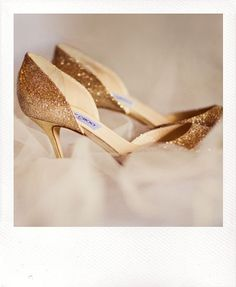 gold heels for the bride, nude heels for the bridesmaids
